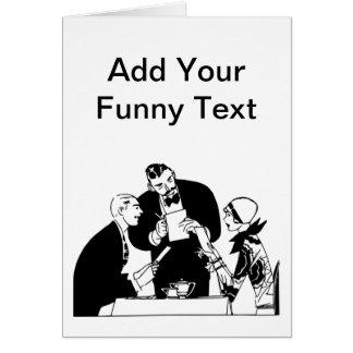 El camarero - humor del restaurante tarjeta de felicitación