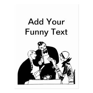 El camarero - humor del restaurante postal