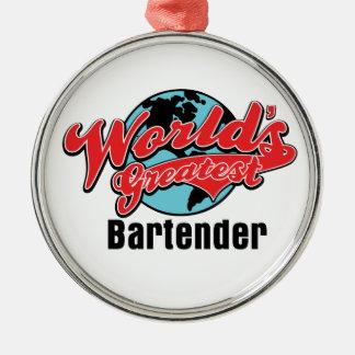 El camarero más grande de los mundos adorno navideño redondo de metal