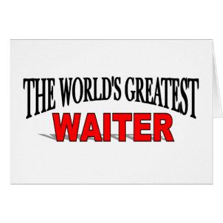 El camarero más grande del mundo tarjeta de felicitación