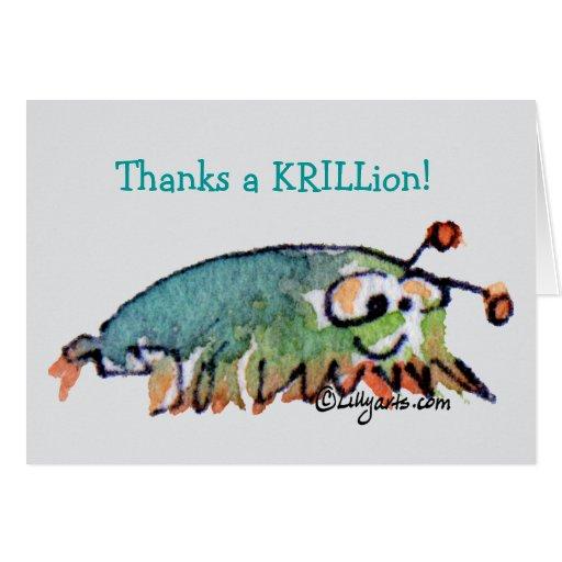 El camarón antártico del dibujo animado le agradec felicitación