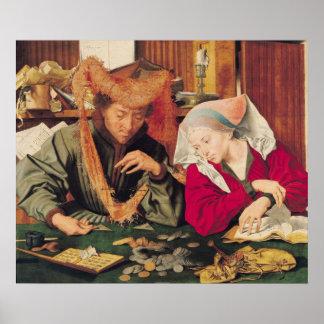 El cambiador de dinero y su esposa, 1539 póster