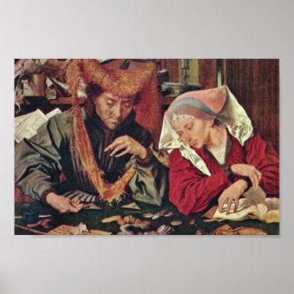 El cambiador de dinero y su esposa de Reymerswaele Póster