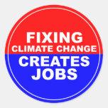 El cambio de clima de la fijación crea trabajos etiqueta redonda