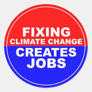 El cambio de clima de la fijación crea trabajos pegatina redonda