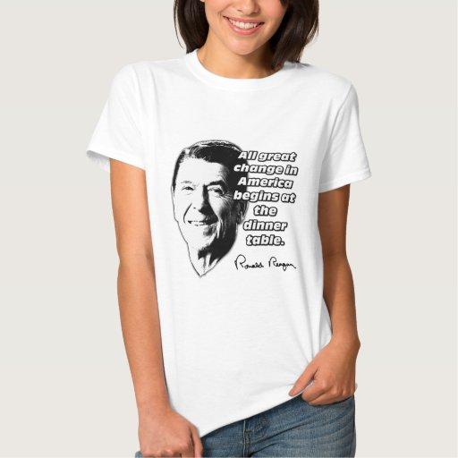 El cambio de la cita de Reagan comienza en la T-shirt