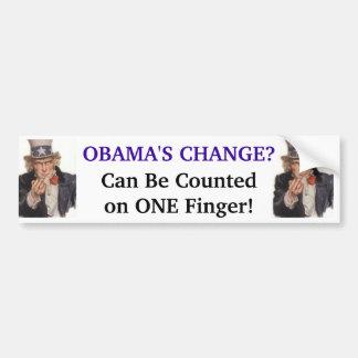 ¡El cambio de Obama - puede ser contado en UN dedo Etiqueta De Parachoque