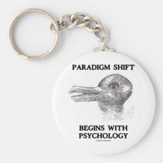 El cambio del paradigma comienza con psicología llavero redondo tipo pin