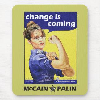 """el """"cambio es"""" Mccain/Partido Republicano de Palin Mousepad"""