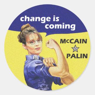 """el """"cambio es"""" Mccain/Partido Republicano de Palin Pegatina Redonda"""