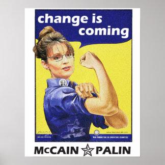 """el """"cambio es"""" Mccain/Partido Republicano de Palin Póster"""