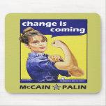 """el """"cambio es"""" Mccain/Partido Republicano de Palin Alfombrilla De Ratón"""