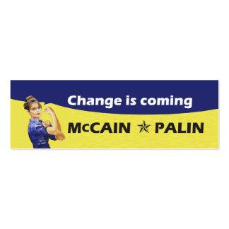 El cambio es McCain Partido Republicano de Palin Tarjeta De Visita