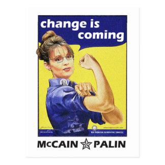 """El """"cambio es"""" McCain/Partido Republicano de Palin Tarjeta Postal"""