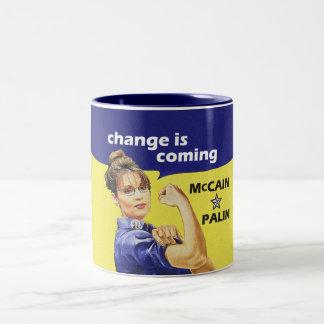 """el """"cambio es"""" McCain/Partido Republicano de Palin Taza De Dos Tonos"""