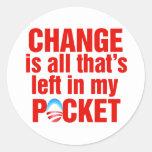 El cambio es todo que se deja en mi antiobama del etiqueta redonda