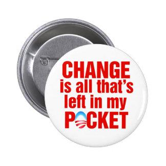 El cambio es todo que se deja en mi antiobama del  pin redondo de 2 pulgadas