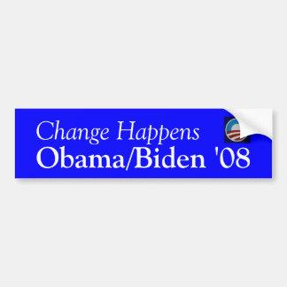 El cambio sucede, Obama/Biden '08 Pegatina Para Auto