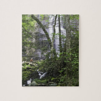 El caminante admira caídas de la rama de las caída puzzles con fotos