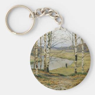 El caminar a través de un prado del otoño llavero redondo tipo pin