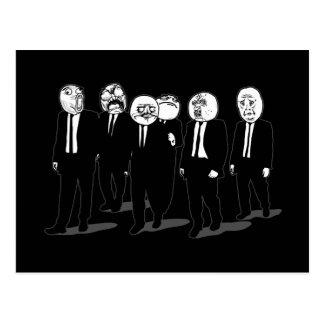 el caminar cómico de las caras del meme de la rabi postal