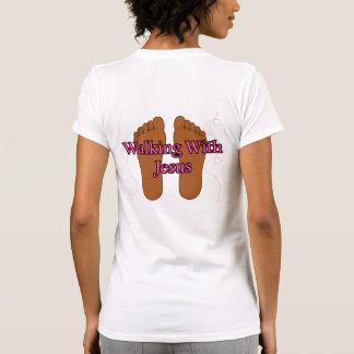 El caminar con Jesús marrón Camiseta