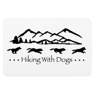El caminar con la flexión de los perros imán rectangular