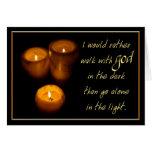 El caminar con las velas de dios tarjeton
