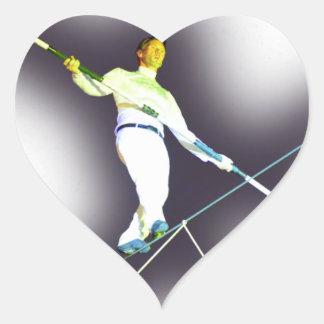 el caminar de la cuerda tirante pegatina en forma de corazón