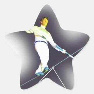 el caminar de la cuerda tirante pegatina en forma de estrella