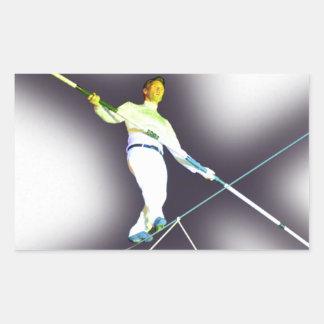 el caminar de la cuerda tirante pegatina rectangular