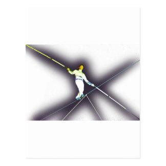 el caminar de la cuerda tirante tarjeta postal