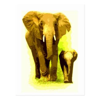 El caminar del elefante y del elefante del bebé tarjetas postales