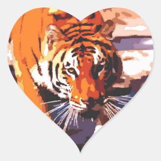El caminar del tigre pegatinas corazon personalizadas