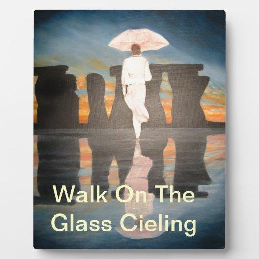 El caminar en el techo de cristal placas de madera