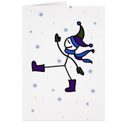 El caminar en invierno tarjeta de felicitación