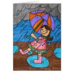 El caminar en la lluvia tarjetas