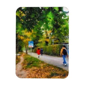 El caminar en una trayectoria hermosa iman de vinilo