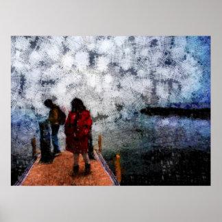 El caminar hacia el lago póster