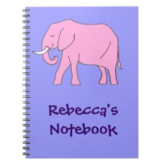 El caminar pacífico del elefante rosado libretas espirales