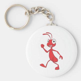 El caminar rojo feliz de la hormiga llavero
