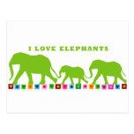 El caminar verde de los elefantes postal