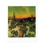 El caminar y luna creciente, Vincent van Gogh de l Tarjeta Postal
