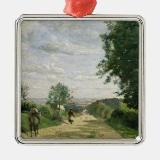 El camino a Sevres, 1858-59 Adorno Navideño Cuadrado De Metal