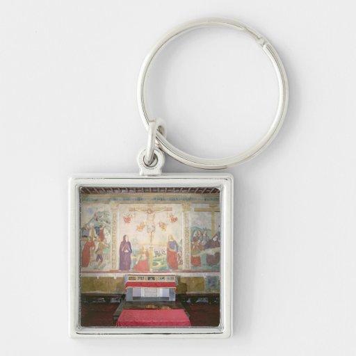 El camino al Calvary, la crucifixión, el Depositi Llavero Cuadrado Plateado