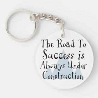 El camino al éxito está siempre bajo construcción llavero redondo acrílico a una cara