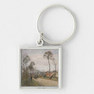 El camino de Louveciennes, 1870 Llavero Cuadrado Plateado