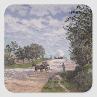 El camino de Mantes a Choisy le Roi, 1872 Pegatina Cuadradas