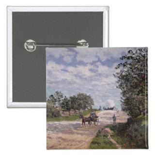 El camino de Mantes a Choisy le Roi, 1872 Pin Cuadrado