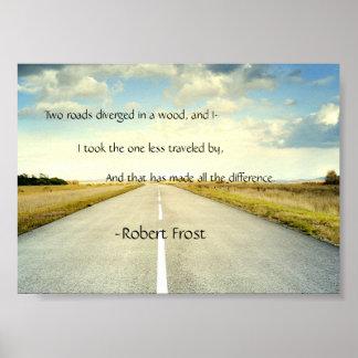 El camino de Robert Frost viajó menos poster de la